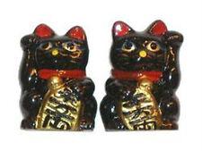 Pair of Black Good Luck Maneki Neko Beckoning Cats