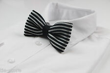 MENS BLACK AND WHITE STRIPE KNITTED BOW TIE PRE-TIED MEN'S BOWTIE WEDDING FORMAL