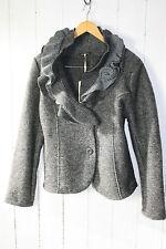 ITALY Jacke Walkjacke Wolle Walk Blazer Volant Kragen Gr XXL  Dunkel Grau  NEU