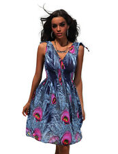 Ladies Size XL/XXL Deep V Neck Summer Boho Blue Floral Beach Dress Sundress!