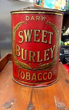 Antique Sweet Burley Tobacco Tin w/Hinged Top