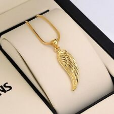 "Charms 18K Yellow Gold Filled Wing Lucky Pendant Necklace 18""Chain Link Jewelry"