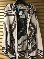 NWT Blu Pepper Brown Knit Western Print Cardigan Sweater Jacket Size Large L $98