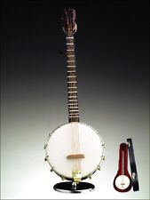 "NEW WOODEN 9"" BANJO INSTRUMENT MUSIC BOX+CASE+STAND,""OH SUSANNAH""-JO23-RO"
