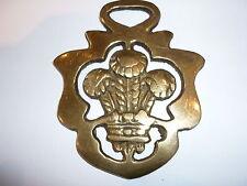 Vintage Solid Horse Brass - Fleur de lis  design. Plume of feathers. Wales