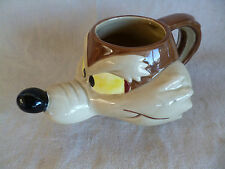 "Wile E Coyote Mug  Warner Bros Road Runner  1989 Applause   H  3 5/8""  L 7 3/4"""
