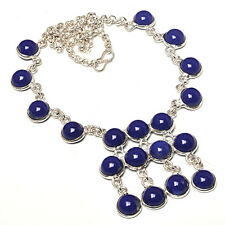 "BLUE ONYX 925 STERLING SILVER OVERLAY NECKLACE  18"" JEWELRY"