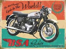 BSA Rocket Motorcycle, Gold Star Engine Vintage, Medium Metal/Tin Sign