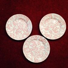 "3 CHURCHILL PINK PEONY Rose Chintz Salad Plates 8"" Discontinued Pattern"