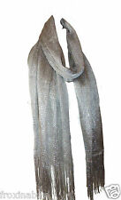Silver Lurex Long Scarf Sparkly Mesh Wrap Shawl with Tassels Seconds