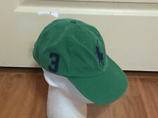 NWT, MENS POLO RALPH LAUREN #3 BIG PONY CAP HAT - GREEN- SIZE ALL FIT ONE