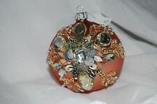 "NEW JEWEL BEAD ENCRUSTED SEASHELL SHELL CHRISTMAS ORNAMENT BALLS 4"" GORGEOUS"
