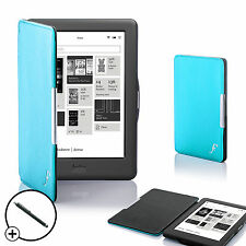 Cuir bleu smart shell case cover pour Kobo Glo HD ereader + stylet