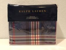 Ralph Lauren Saranac Peak Bentwood Plaid King Duvet Cover Blue Red Cream Tartan