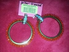 Betsey Johnson Orange Hoop Earrings New W/Tag