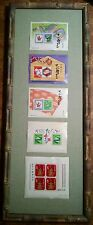 Japanese New Year Postal stamps 1965 1977 1988 1989 2001 FRAMED behind glass