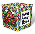 Home Sweet Home Tea Light Candle Holder Votive Hand Painted Glass AMIA Flowers