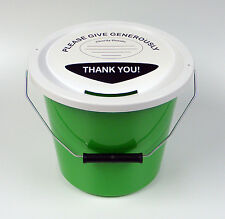 Charity Fundraising Money Collection Bucket with Lid, Label & Ties - Green