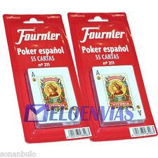 2 X BARAJA DE CARTAS POKER ESPAÑOL FOURNIER Nº 211 ORIGINAL 55 NAIPES, CALIDAD