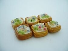 Set of 6 Puff Pastry with Fruit Dollhouse Miniatures Food Deco Yummy Pastry-1
