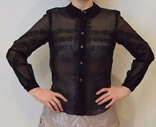 Temperley London Silk Black Hazel See Through Shirt Size 14   #*1