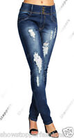 NEW INDIGO WASH RIPPED SOFT Ladies DENIM SKINNY JEANS Womens Size 6 8 10 12 14
