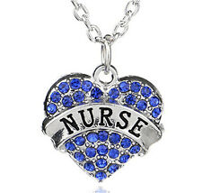 Fashion Family Nurse Heart blue Crystal Pendant For Silver 925 Necklace Chain !