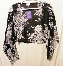 NWT Hot In Hollywood HH Sheer Handkerchief Scarf Style Shrug Size L Black Rose