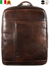 New Genuine Leather Backpack Bag Travel Vintage Dark Brown Mens Made in Italy