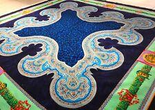 vintage GIANNI VERSACE velvet fabric panel Leopard & Medusa print blue & green