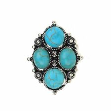 Finger Ring Vintage Statement Turquoise Stone Tibet Silver Jewelry Adjustable