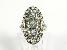 2ctw Natural 3 Aquamarine and Seed Pearl Victorian Deco Sterling Filigree Ring 7