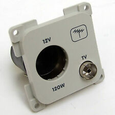 AERIAL & 12V SOCKET  for CBE or C-LINE SYSTEMS LIGHT GREY CARAVAN MOTORHOME