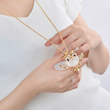 1pc Fashion Owl Opal Crystal Pendant Necklace Long Sweater Chain Women Accessory