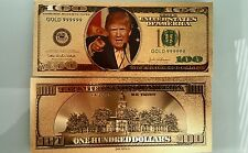 45th President Donald Trump money dollar bill $100 24k Gold  Plated Note