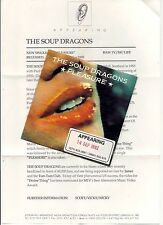 THE SOUP DRAGONS PLEASURE PROMO CD SINGLE IN CARD SLEEVE WITH RELEASE NOTES 1992