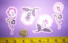 New! Cool! Purple Flowers IRON-ONS FABRIC APPLIQUES IRON-ONS