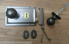 CLASSIC OLD ENGLISH RIM DOOR LOCK AND KNOB HANDLE SET-  AI BALL RIM KNOB