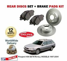 FOR Peugeot 406 ESTATE MODELS 1997-2004 NEW REAR BRAKE DISCS SET + DISC PADS KIT