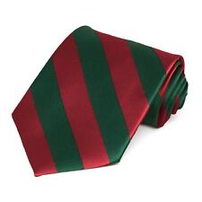 XL Crimson Red and Hunter Green Extra Long Woven Diagonally Striped Tie