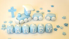 HANDMADE EDIBLE CHRISTENING BABY TRAIN DECORATION BIRTHDAY CAKE TOPPER BOY--GIRL