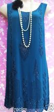 SIZE 18 FLAPPER DOWNTON GATSBY 20's STYLE CHARLESTON DRESS BEADED ~ US 14 EU 46