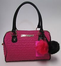 Betsey Johnson Pink & Black  Lip Stitched Satchel With Pom Poms Purse NWT