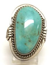 Navajo Handmade Sterling Silver Dry Creek Turquoise Ring Size - 8 - SN
