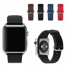 Brown Genuine Leather Watch Band Strap for Apple Watch + Classic Buckle 42mm