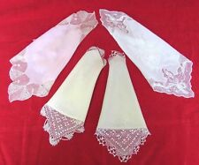 GROUP OF FOUR 19C. ANTIQUE VICTORIAN LADIES CROCHET LACE HANDKERCHIEFS