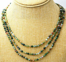 Beautiful 3 rows 4 mm Natural multicolor Indian agate beads gem necklace 17-19""