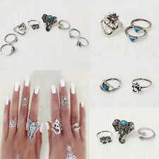 New Coming Eight Piece Suit Elephant Triangle Snake Turquoise Drops Of Oil Ring