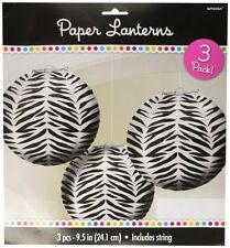 Zebra Stripes Animal Print Paper Lanterns (3count) New 268475