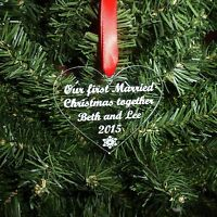 Personalised HEART Tree Decoration Bauble First 1st Christmas Together Acrylic